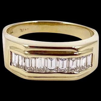 Vintage 1.20cts Diamond Baguette 14k gold Men's Ring VVS1 D