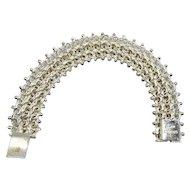 "Art Deco Taxco Mexico Sterling Silver Etruscan Flower Bracelet 7 3/8"""