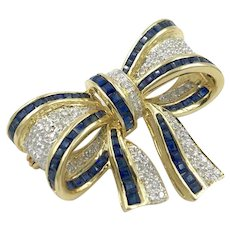 Vintage 1.00ct Sapphire and Diamond 14K Yellow Gold Bow Pin Brooch