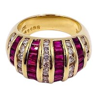 LeVian Vintage 18K Gold Diamond & Baguette Ruby Dome Ring