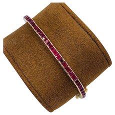 Vintage LeVian 8.00 carat Ruby Tennis Bracelet 14k Yellow Gold