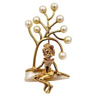 Rare William Ruser 14K Yellow Gold Pearl Elf Brooch Pin