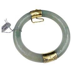 Vintage Ming's 14k Gold Jade Hinged Bangle Bracelet