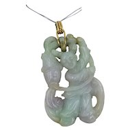 Vintage Carved Fisherman Jade Pendant w/ Swivel 14k Gold Bale