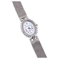 Vintage Geneve 14K White Gold & Diamond Wrist Watch 1.00cts