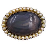 Victorian 14k Yellow Gold Agate Pearl Mourning Brooch Pin