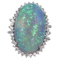 Vintage 22.00 carat Natural Australian Opal Diamond Cocktail Ring VVS1