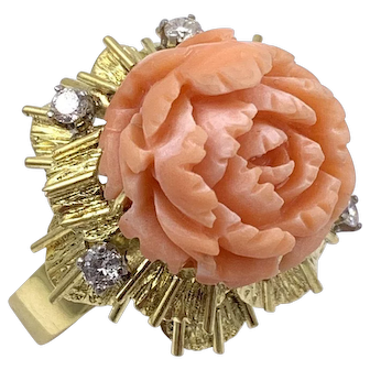 Carved Coral Flower Diamond 14k yellow gold Cocktail Ring