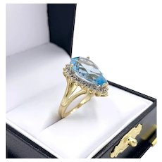 Pear Cut Natural 5.75 ct Blue Topaz and Diamond 10K Gold Ladies Cocktail Ring