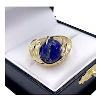 Modernist Lapis Lazuli Cabochon 14k Yellow Gold Ladies Ring