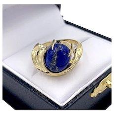 Modernist Lapis Lazuli Cabochon 14k Yellow Gold Ladies Ring