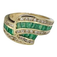 Vintage Natural 2.0 ct Colombian Emerald Modernist Ring 14K Gold w/ Diamonds