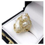 Vintage 14K Gold Japanese Cultured Biwa Pearl Brutalist Ladies Ring