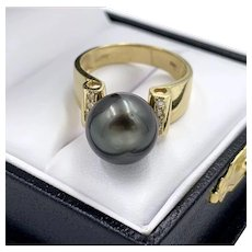 Vintage 14K Gold Tahitian Pearl Cocktail Ladies Ring w/ Pave Diamonds