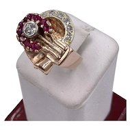 Art Deco 14k Rose Gold European Diamond Ruby Ring .50cts