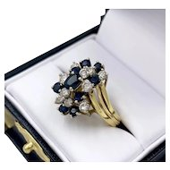 18K Gold Cocktail Cluster 1.0 ct Diamond Ring w/ 1.0 ct in Natural Blue Sapphire
