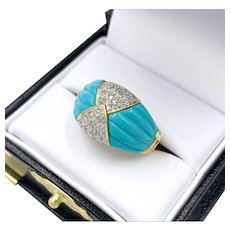 Estate Persian Turquoise Diamond Cluster 18k Gold Ring