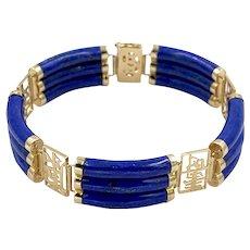 Vintage Chinese Lapis Lazuli 14k Yellow Gold Tube Bracelet