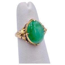 Vintage 18k Yellow gold Jade Ring  Natural Jade Hong Kong