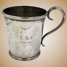 Early 1800's Lincoln & Reed Coin Silver Yulep Cup Mug Antique