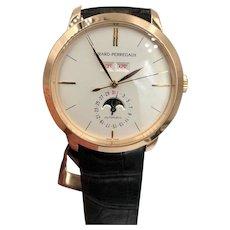Girard Perregaux 1966 Full Calendar Moon Automatic 18k Pink Gold Watch