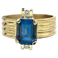 Vintage 18K Yellow Gold Natural 2.60ct Tourmaline Cigar Band Ring w/ Accent Diamonds