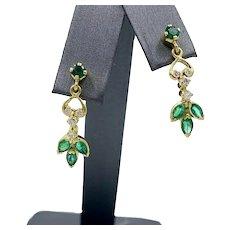 Vintage 18K Yellow Gold 1.50ct Emerald Dangle Earrings w/ .35ct in Diamonds