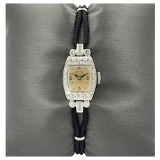 Vintage Hamilton Platinum 17 Jewels Ladies Watch w/ Diamond Bezel