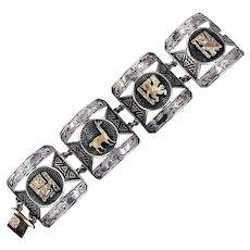 Vintage Sterling Silver 18K Gold Panel Bracelet from Peru Peruvian