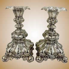Vintage Swedish Rococo Sterling Silver Candle Stick Set Of 2