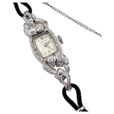 Art Deco Hamilton lady's diamond platinum watch 1.20cts VVS