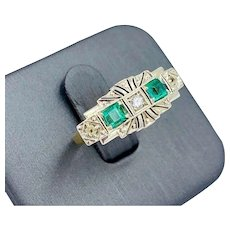 Art Deco Jofer 18k yellow Gold Emerald Diamond Ring
