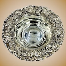 Vintage French Sterling Silver Bowl Center piece hand chased