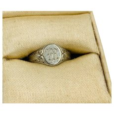 Vintage Larter & Sons Baby insignia Ring 14k white gold