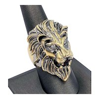 Huge 10k Yellow Gold Lion Men's Ring 1.10cts Briolette Ruby and Diamond eyes