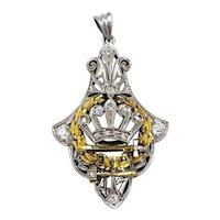 Art Deco Order of Amaranth Past Royal Matron Crown Platinum Diamond Pendant