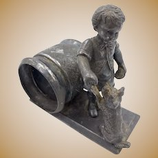 Antique Silverplate Napkin Ring Holder - Boy With Dog Meriden Co.