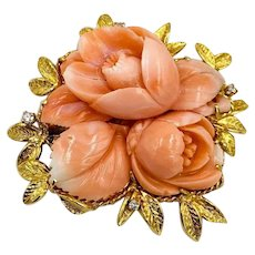 Vintage 14K Yellow Gold Carved Coral flower Rose Diamond Brooch Pin