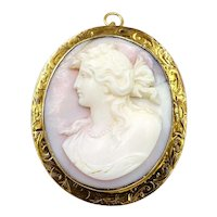 Vintage 14K Yellow Gold shell Cameo Hand Etched Brooch Pin