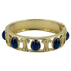 Vintage 14k Gold 35cts Sapphire Cabochons Chunky Hinged Bangle Bracelet