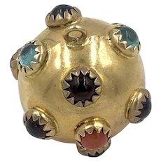 Vintage 14K Gold Sputnik Jeweled Charm Pendant Rare