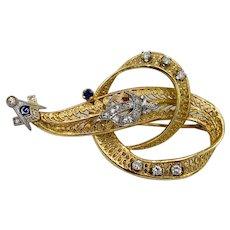 Mason 14K Yellow Gold filigree Diamond sapphire Brooch Pin Masonic Shriners