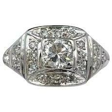 Art Deco Platinum Ladies Diamond Ring w/ .45ct Old Euro Cut Diamond
