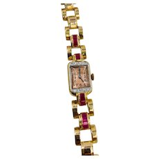 Art Deco 18k Rose Gold Arbor diamond and Ruby watch 33.5 grams