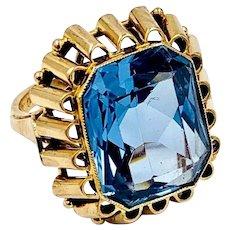 Vintage 14k Yellow gold PolandBlue Topaz Ring Hand Made