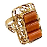 Vintage 14k Yellow gold Poland Coral barrel Ring Hand Made