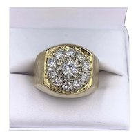Vintage 1.44cts VS F Diamond Cluster mens ring
