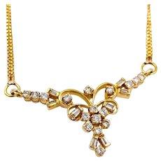 Vintage 22k Yellow gold .75ct Diamond Pendant Necklace