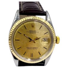 Vintage Rolex datejust 14k gold SS linen dial Men's Watch 1601 36mm