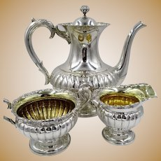 Art Deco Swedish 830 Silver Teapot Coffee Set Sweden